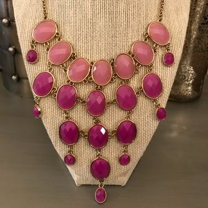 Pink Ombré Gold Jeweled Statement Necklace